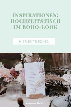 Boho Inspiration: Hochzeitstafel Dekoration mit floraler Papeterie. Die Menükarte mit Pfingstrosen und Pampasgras passt perfekt zum Boho-Stil. Hochzeit im angesagten Boho Look. Lass dich von der Boho Tischdekoration, Bohemian Papeterie, dem Brautstrauß im Boho Look und der passende Boho Deko für deine Hochzeit inspirieren. _________ ➤ Fotos: Anne Cathrin Wahl ➤ #kartenmacherei #boho #hochzeit #tischdeko Boho Stil, Place Cards, Place Card Holders, Inspiration, Photos, Golden Anniversary, Card Wedding, Retro Images, Photo Calendar