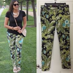 """Tropical Print Skinny Jeans🌴 Tropical Print Skinny Jeans, colors slightly washed out and price reduced to reflect it, still a great pair of pants perfect for Summer! Details: pant length about 38 inches long. 98% cotton, 2% spandex***‼️PLEASE use the """"Offer"""" section to place offers, offers in comment section WILL NOT be considered unless it is a question about bundling, Thank you‼️*** Almost Famous Pants"""
