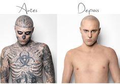 Quando uma base é incrível: olha como ela cobriu todas as tatuagens do Zombie!