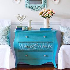 I love the idea of painting a bold color on a piece of furniture vs the walls