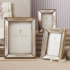 Verona Set of 3 Gold Leaf Mirror Photo Frames Includes: 2 x 3 3 x x Frame - Glass/Resin/MDF Distressed Picture Frames, Mirrored Picture Frames, Picture Frame Decor, White Picture Frames, Picture Frame Sets, Wooden Picture Frames, Picture On Wood, Picture Design, Vintage Picture Frames
