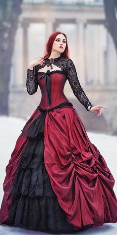 gothic wedding dresses black and red lace slevees