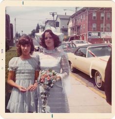 Plenty of lace and a high neckline was a popular style for wedding attire of the Girls Slip, Tights Outfit, Bridesmaid Dresses, Wedding Dresses, Vintage Bridal, Ladies Party, 70s Fashion, Fashion History, Vintage Colors