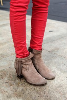 Red pants + brown fringe boots