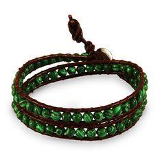 Chen Rai Genuine Green Agate Brown Wrap Bracelet