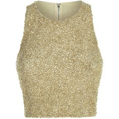 Alice + Olivia Beaded Cropped Racer Back Top ($485) ❤ liked on Polyvore featuring tops, glitter crop top, cocktail tops, holiday tops, beaded crop top and glitter top