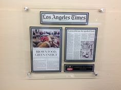 Newspaper Acrylic Plaques.  Los Angeles Times Newspaper Article: FEED Project Recovery