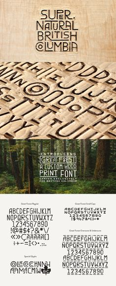 Great Forest—a hand-carved wood font created as the cornerstone of the new visual identity for Tourism British Columbia. Gabriel Lefebvre and Rachel Lecompte via ? Multi-face type families are Typography Letters, Graphic Design Typography, Hand Lettering, Branding Design, Typography Inspiration, Graphic Design Inspiration, British Columbia, Print Fonts, Carved Wood