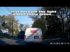 dash cam videos | drivershaming | The Carpet Workroom Van Blows Through Bus Stop Sign