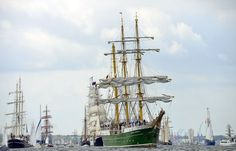 """The """"Alexander von Humboldt II"""" tall ship leads the Windjammer Parade of tall ships on June 23, 2012 in Kiel, Germany."""
