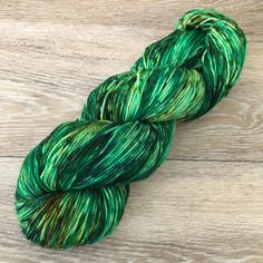 Your Lucky Day - Green Speckled Hand Dyed Sock Fingering DK Worsted Weight Yarn, Superwash Merino Nylon 4-Ply or 2-Ply, Choose Your Own Base