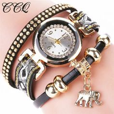 Gold Elephant Luxury Bracelet Watch