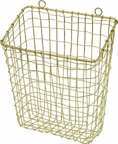 store in style with our wire storage basket in gold colourour wall mounted and