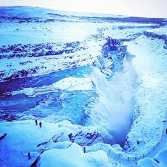 #Iceland is just as breathtaking in the winter! A photo of a frozen #Gulfoss by @bluukeu.