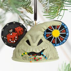 Disney Oogie Boogie Ear Hat Ornament - Tim Burton's The Nightmare Before Christmas Nightmare Before Christmas Ornaments, Disney Christmas Ornaments, Halloween Ornaments, Halloween Trees, Christmas Store, Halloween Signs, Disney Halloween, Halloween Decorations, Christmas Crafts