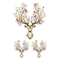 Beautiful And Elegant Deer With Flowers and Birds On Horns Temporary Tattoo Sticker #tattoo #boho #stylish #animal #indian #flower #sticker #calligraphy #bohemian #temporary