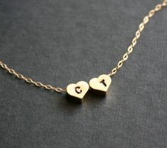 Etsy - Two Hearts Initial Necklace reversible - 14k Gold Filled, lovers necklace, personalized engraved necklace