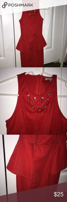 Red peplum dress🍒 This is in good condition! I wore it once to homecoming and this is also good for parties or any formal events❣️ it's an xs but can also fit a small♥️ Charlotte Russe Dresses