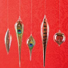 Natural Feathers Glass Drops