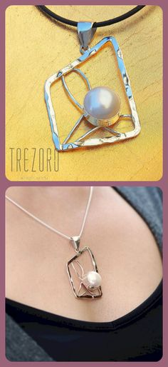 Pendant Necklace      Sterling Silver     Natural Pearl     Geometry Collection      Worldwide shipping
