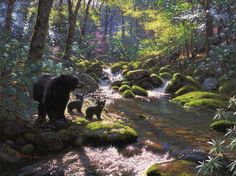 Awakening by Mark Keathley ~ mother black bear & her cubs sunlit forest stream