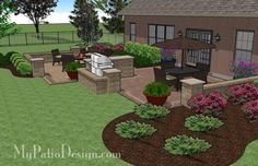 - Contrasting Paver Patio Design with Grill Station-Bar 665 sq. - Contrasting Paver Patio Design with Grill Station-Bar Backyard Patio Designs, Backyard Landscaping, Patio Ideas, Pavers Ideas, Landscaping Ideas, Backyard Pavilion, Backyard Projects, Backyard Ideas, Patio Grill