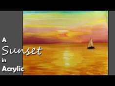 Acrylic Painting : A Sunset in Acrylic Color   Episode-2 - YouTube
