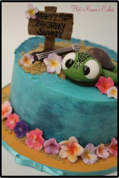 Hawaiian Themed Birthday Cake - how cute is this little turtle? Hawaii Birthday Cake, Hawaii Cake, Hawaiian Birthday, Luau Birthday, Themed Birthday Cakes, Themed Cakes, Turtle Birthday, Turtle Party, Birthday Ideas