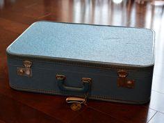 Blue Retro Mid-Century Suitcase Textured Vintage Travel Stitching Stacking Decor Repurpose Upcycle MCM Atomic Aqua Vinyl Apartment Therapy