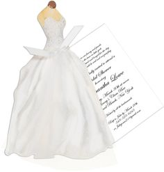 Wedding Gown with Tulle Die-Cut Invitations
