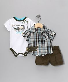 Take a look at this Baby Rebels Olive & Aqua Plaid Alligator Shorts Set - Infant by It's A Zoo: Apparel & Accessories on #zulily today!