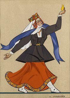 Zofia Stryjeńska - Strój ludowy z Wilna - tablica 39, 1939 r.