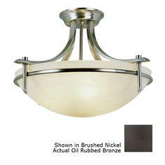 Portfolio�21-1/2-in W Oil-Rubbed Bronze Frosted Glass Semi-Flush Mount Ceiling Light