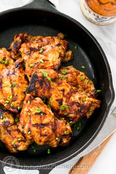 These Juicy Barbecued Chicken Thighs pair well with Alexia Crispy Sweet Potato Puffs!