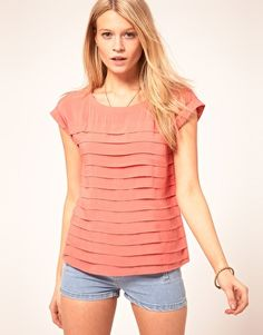 Oasis Clean Pleat Top- pleats take a simple t-shirt cut to new style heights.