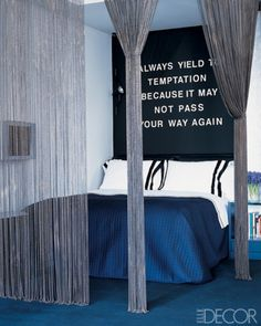 Unique ball-chain rope curtain used as a divider in a New York loft. | elledecor.com Photo by Timothy Kolk
