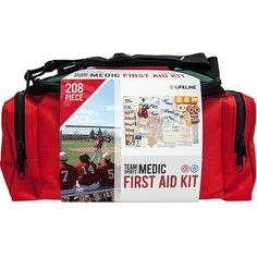 Lifeline First Aid Sports Medic 207 Piece First Aid Kit Personal... ($62) ❤ liked on Polyvore featuring bags, luggage, red, travel accessories and travel comfort and health