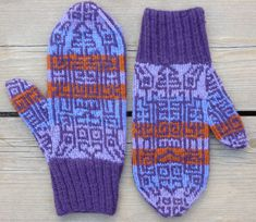 The motifs on this mitten knitting pattern were inspired by figures on a textile from the Nazca civilization of ancient Peru. The design on the front of the mitten is reversed on the back. Click through to purchase pattern. #peruviantextiles #thumbgusset #KunstwerkDesigns