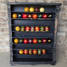 Antique Billiard Ball Rack Pool Game Room Bar Pool Ball Shelf Man 100+Old Tavern #UNKNOWN