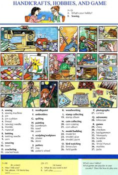 105 - HANDICRAFTS, HOBBIES AND GAME - Pictures dictionary - English Study, explanations, free exercises, speaking, listening, grammar lessons, reading, writing, vocabulary, dictionary and teaching materials