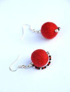 Felt earrings, Red felt earrings, beads, felt wool, felted jewelry,handmade,hand felted soft balls,unique jewelry,Eco-Friendly,gift for her by JirsaFELT on Etsy