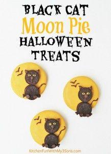 Halloween Black Cat Moon Pie Treats