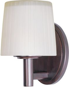 """Maxim 1-light bath vanity or wall sconce in oil rubbed bronze finish with dusty white linen shade and is damp rated. 8.5""""h x 5.5""""w. Reg. Price 129.60 Our Price $ 72.00"""