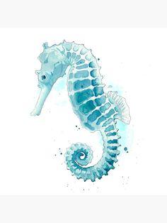 Watercolor Fish, Watercolor Animals, Watercolor Illustration, Watercolor Paintings, Watercolours, Seahorse Painting, Seahorse Art, Seahorse Drawing, Seahorses