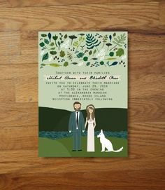 Wow your guests with whimsy, completely custom wedding invitations!    This is a design fee for custom illustrated wedding invitations specially