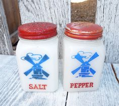Milk Glass Salt and Pepper Shaker Set, Red White and Blue, Dutch Windmills. $14.00, via Etsy.