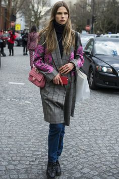 Pin for Later: Don't Miss a Single Supermodel Outfit on the Streets at PFW Day 6 Caroline Brasch Nielsen carrying a Chanel bag.