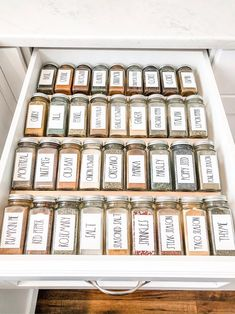 ***PLEASE READ*** Are you a Rae Dunn fan? These Rae Dunn Inspired Spice Labels will give your kitchen a very clean look. Kitchen Organization Pantry, Spice Organization, Home Organisation, Pantry Storage, Organized Pantry, Bathroom Organization, Diy Storage, Baking Storage, Mason Jar Storage