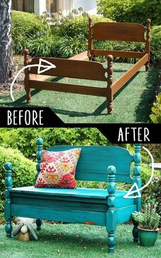 DIY Furniture Hacks Bed Turned Into Bench Cool Ideas for Creative Do It Yourself Furniture Cheap Home Decor Ideas for Bedroom Bathroom Living Room Kitchen a href reln. Diy Furniture Hacks, Refurbished Furniture, Repurposed Furniture, Cheap Furniture, Furniture Projects, Furniture Makeover, Painted Furniture, Home Furniture, Diy Projects
