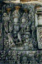 Vishnu with Lakshmi (Lakshmi-Narayana) at Halebidu.